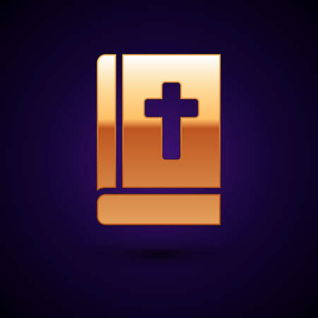 Gold Holy bible book icon isolated on black background. Vector.