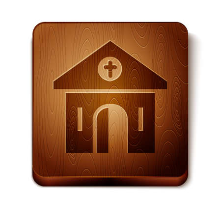 Brown Church building icon isolated on white background. Christian Church. Religion of church. Wooden square button. Vector. Archivio Fotografico - 150943953