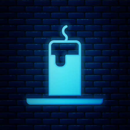 Glowing neon Burning candle icon isolated on brick wall background. Cylindrical candle stick with burning flame. Vector. Archivio Fotografico - 150948425