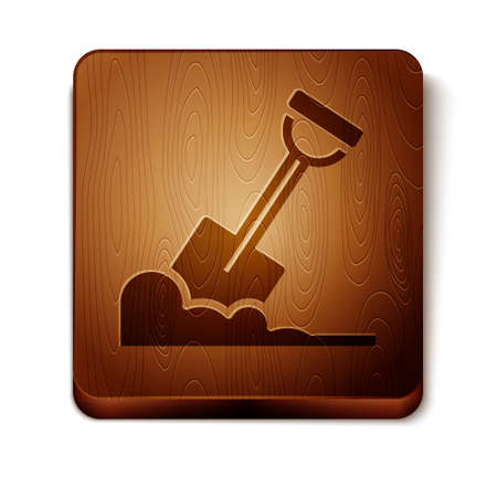Brown Shovel in the ground icon isolated on white background. Gardening tool. Tool for horticulture, agriculture, farming. Wooden square button. Vector.
