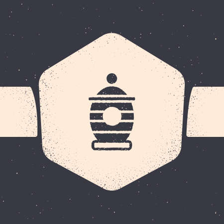 Grunge Funeral urn icon isolated on grey background. Cremation and burial containers, columbarium vases, jars and pots with ashes. Monochrome vintage drawing. Vector.  イラスト・ベクター素材
