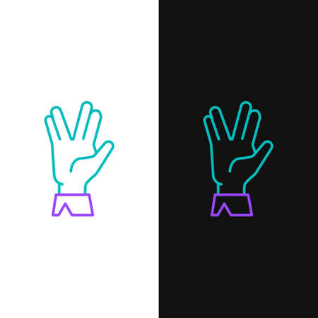 Line Vulcan salute icon isolated on white and black background. Hand with vulcan greet. Spock symbol. Colorful outline concept. Vector.