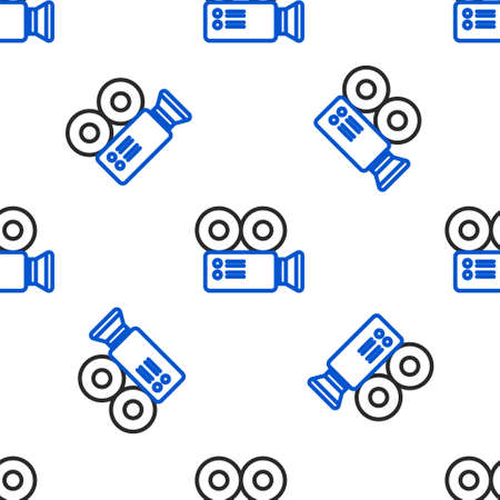 Line Cinema camera icon isolated seamless pattern on white background. Video camera. Movie sign. Film projector. Colorful outline concept. Vector.