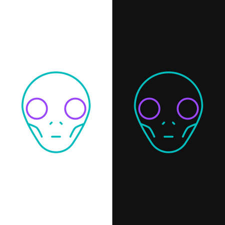 Line Alien icon isolated on white and black background. Extraterrestrial alien face or head symbol. Colorful outline concept. Vector.