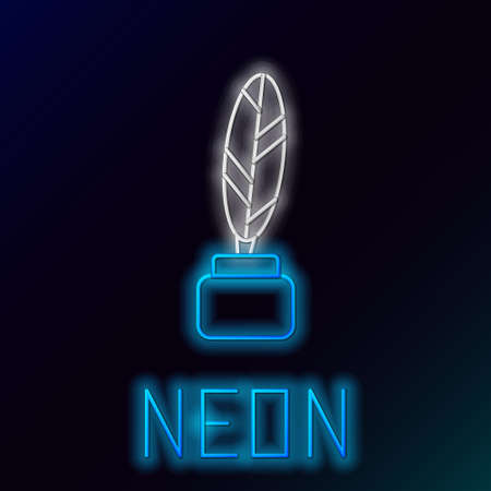 Glowing neon line Feather and inkwell icon isolated on black background. Colorful outline concept. Vector.
