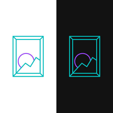 Line Picture landscape icon isolated on white and black background. Colorful outline concept. Vector.