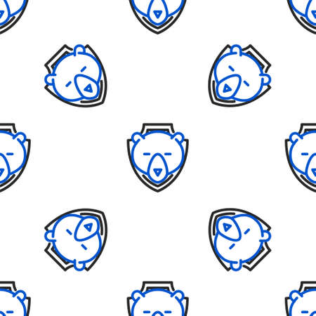 Line Bear head on shield icon isolated seamless pattern on white background. Hunting trophy on wall. Colorful outline concept. Vector.