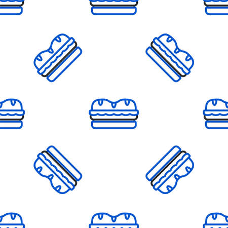 Line Sandwich icon isolated seamless pattern on white background. Hamburger icon. Burger food symbol. Cheeseburger sign. Street fast food menu. Colorful outline concept. Vector.