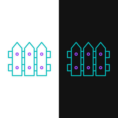 Line Garden fence wooden icon isolated on white and black background. Colorful outline concept. Vector. Ilustração