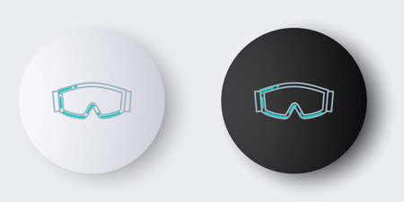 Line Ski goggles icon isolated on grey background. Extreme sport. Sport equipment. Colorful outline concept. Vector.