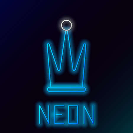 Glowing neon line Crown icon isolated on black background. Colorful outline concept. Vector.