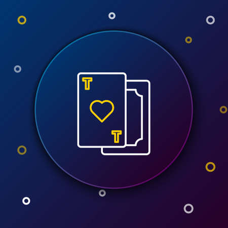 Line Playing card with heart symbol icon isolated on blue background. Casino gambling. Colorful outline concept. Vector.