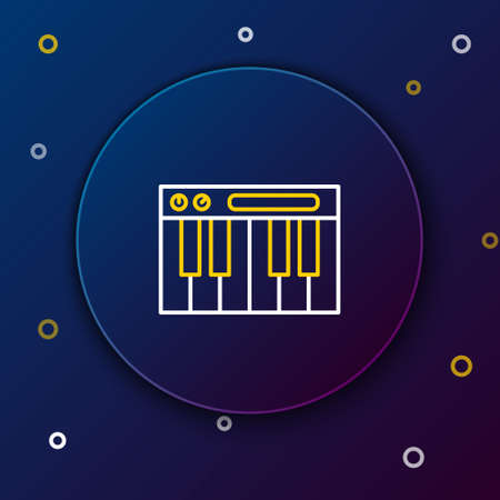 Line Music synthesizer icon isolated on blue background. Electronic piano. Colorful outline concept. Vector. Illusztráció