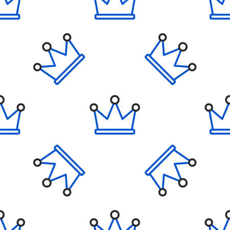 Line Crown icon isolated seamless pattern on white background. Colorful outline concept. Vector.