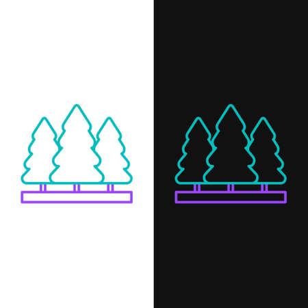 Line Christmas trees icon isolated on white and black background. Merry Christmas and Happy New Year. Colorful outline concept. Vector.  イラスト・ベクター素材