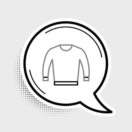 Line Sweater icon isolated on grey background. Pullover icon. Colorful outline concept. Vector.  イラスト・ベクター素材