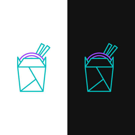 Line Asian noodles in paper box and chopsticks icon isolated on white and black background. Street fast food. Korean, Japanese, Chinese food. Colorful outline concept. Vector. Illusztráció