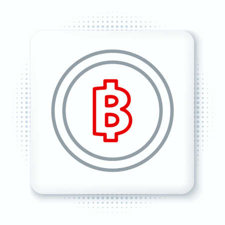 Line Cryptocurrency coin Bitcoin icon isolated on white background. Physical bit coin. Blockchain based secure crypto currency. Colorful outline concept. Vector.