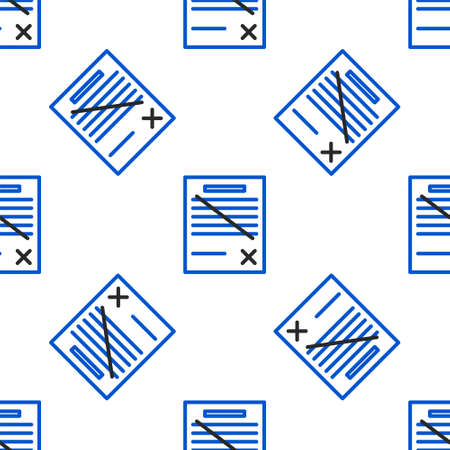 Line Delete file document icon isolated seamless pattern on white background. Rejected document icon. Cross on paper. Colorful outline concept. Vector.