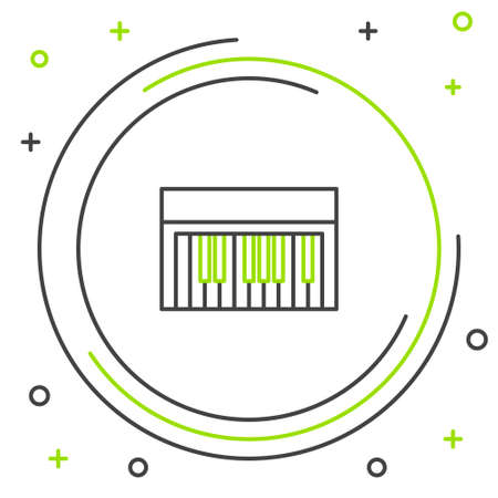 Line Music synthesizer icon isolated on white background. Electronic piano. Colorful outline concept. Vector. Illusztráció