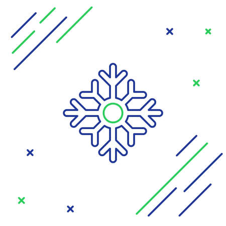 Line Snowflake icon isolated on white background. Merry Christmas and Happy New Year. Colorful outline concept. Vector.