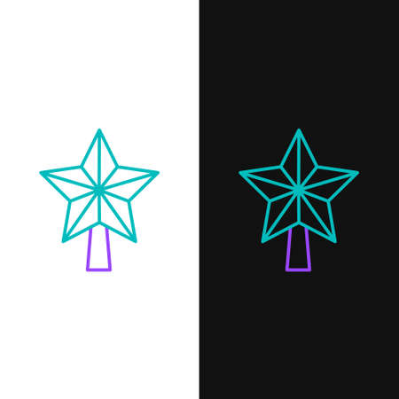 Line Christmas star icon isolated on white and black background. Merry Christmas and Happy New Year. Colorful outline concept. Vector.