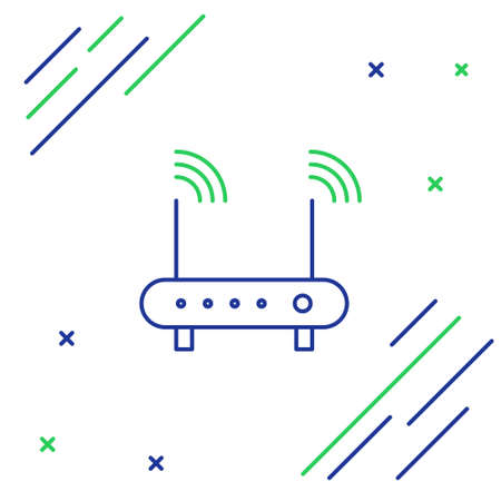 Line Router and wifi signal symbol icon isolated on white background. Wireless modem router. Computer technology internet. Colorful outline concept. Vector.