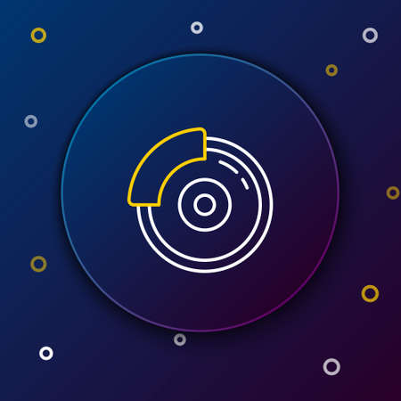 Line Car brake disk with caliper icon isolated on blue background. Colorful outline concept. Vector. Illustration