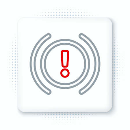 Line Brake system warning icon isolated on white background. Exclamation mark in the car. Dashboard attention sign. Colorful outline concept. Vector. Illustration
