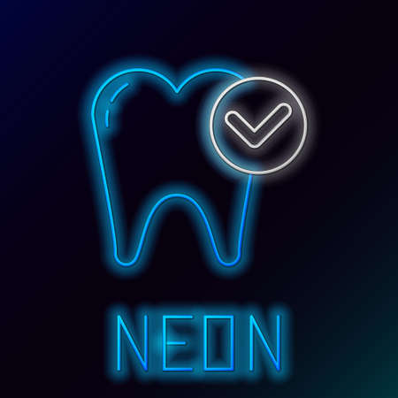 Glowing neon line Tooth whitening concept icon isolated on black background. Tooth symbol for dentistry clinic or dentist medical center. Colorful outline concept. Vector.