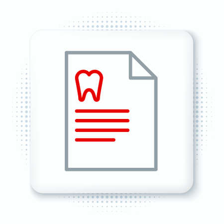 Line Clipboard with dental card or patient medical records icon isolated on white background. Dental insurance. Dental clinic report. Colorful outline concept. Vector.