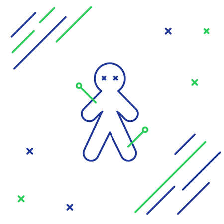 Line Voodoo doll icon isolated on white background. Colorful outline concept. Vector.