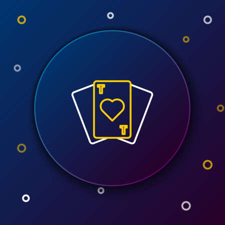 Line Playing cards icon isolated on blue background. Casino gambling. Colorful outline concept. Vector.