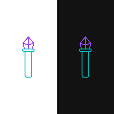 Line Magic staff icon isolated on white and black background. Magic wand, scepter, stick, rod. Colorful outline concept. Vector.