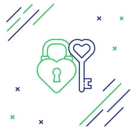 Line Castle in the shape of a heart and key in heart shape icon isolated on white background. Love symbol and keyhole sign. Colorful outline concept. Vector. Illustration