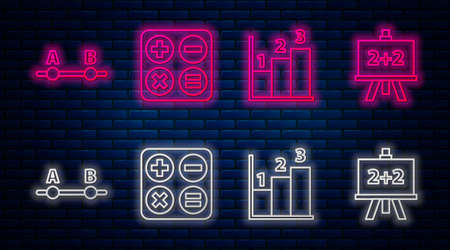Set line Square root, Graph, schedule, chart, diagram, Test or exam sheet and Calculator. Glowing neon icon on brick wall. Vector. Archivio Fotografico - 151058387