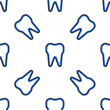 Line Tooth icon isolated seamless pattern on white background. Tooth symbol for dentistry clinic or dentist medical center and toothpaste package. Colorful outline concept. Vector.