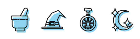 Set line Unicycle or one wheel bicycle, Magic mortar and pestle, Witch hat and Moon and stars icon. Vector.