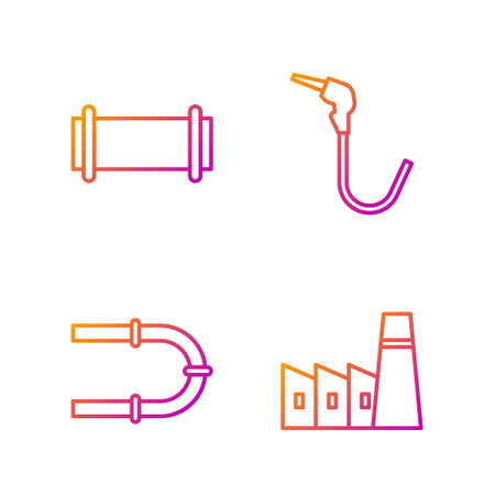 Set line Oil industrial factory building, Industry pipe, Industry pipe and Gasoline pump nozzle. Gradient color icons. Vector.