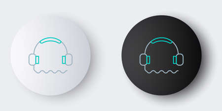 Line Headphones icon isolated on grey background. Support customer service, hotline, call center, faq, maintenance. Colorful outline concept. Vector.