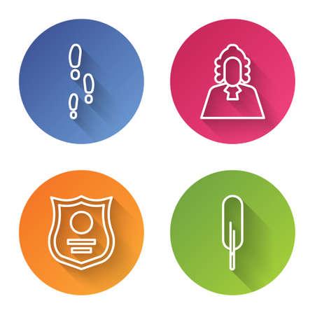 Set line Footsteps, Judge, Police badge and Feather pen. Color circle button. Vector. Ilustração