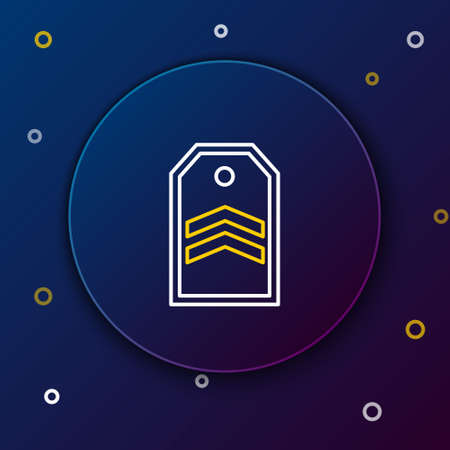 Line Chevron icon isolated on blue background. Military badge sign. Colorful outline concept. Vector.