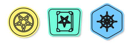 Set line Pentagram in a circle, Ancient magic book and Spider web. Colored shapes. Vector. Ilustração