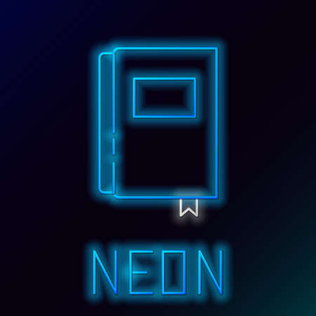 Glowing neon line Book icon isolated on black background. Colorful outline concept. Vector.