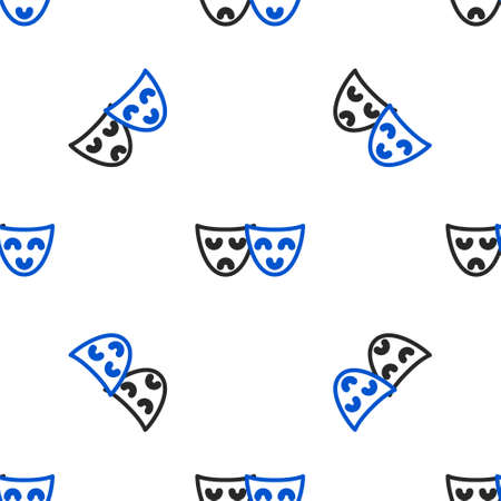 Line Comedy and tragedy theatrical masks icon isolated seamless pattern on white background. Colorful outline concept. Vector.