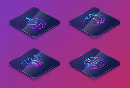 Set Isometric line Moon with flag, Solar system, Eclipse of the sun and Planet Venus. Blue square button. Vector illustration