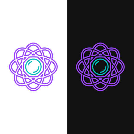 Line Atom icon isolated on white and black background. Symbol of science, education, nuclear physics, scientific research. Colorful outline concept. Vector.