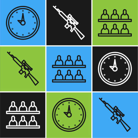 Set line Clock, Jurors and Sniper rifle with scope icon. Vector.