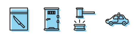 Set line Judge gavel, Evidence bag and knife, Prison cell door and Police car and flasher icon. Vector. 일러스트