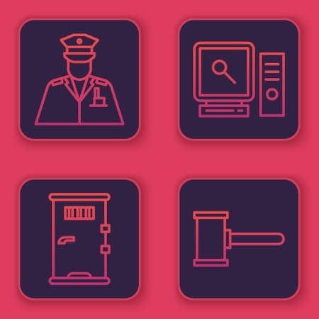 Set line Police officer, Prison cell door, Search on computer screen and Judge gavel. Blue square button. Vector.